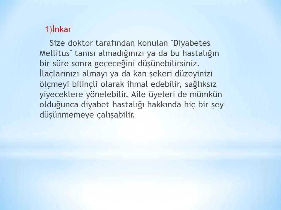 1)İnkar Size doktor tarafından konulan Diyabetes Mellitus tanısı almadığınızı ya da bu hastalığın bir süre sonra geçeceğini düşünebilirsiniz.