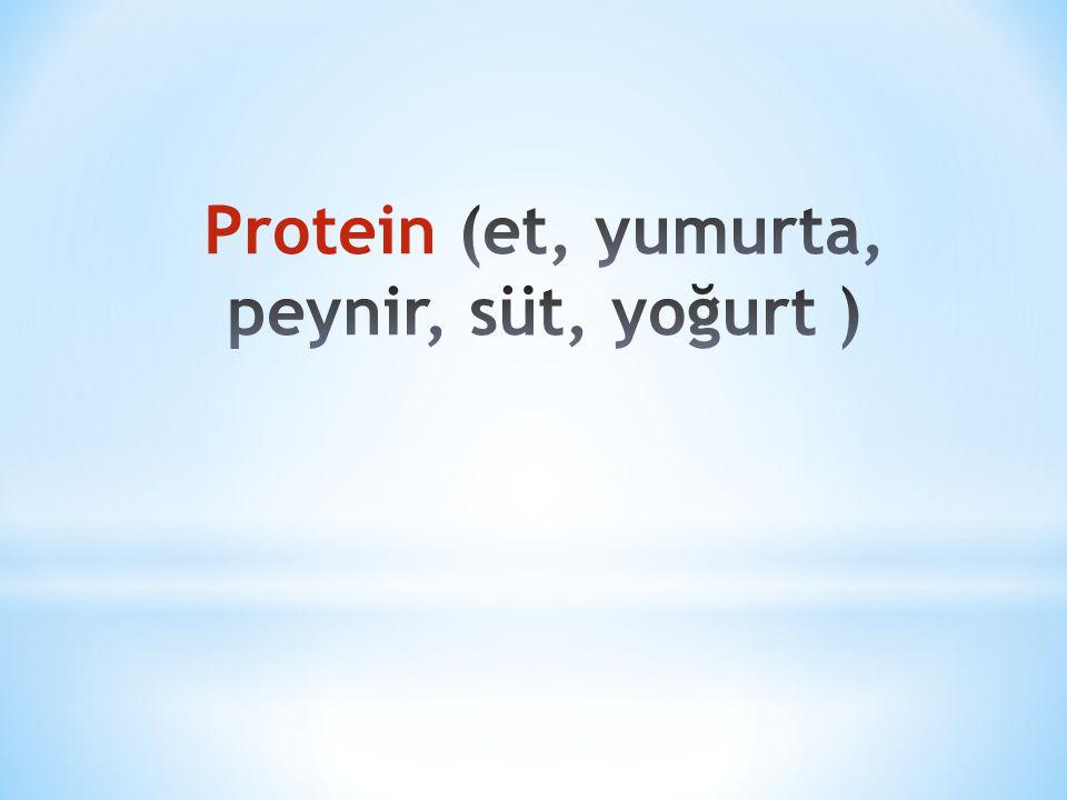 Protein (et, yumurta, peynir, süt, yoğurt )