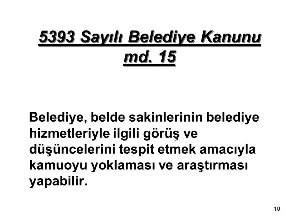 5393 Sayılı Belediye Kanunu md. 15