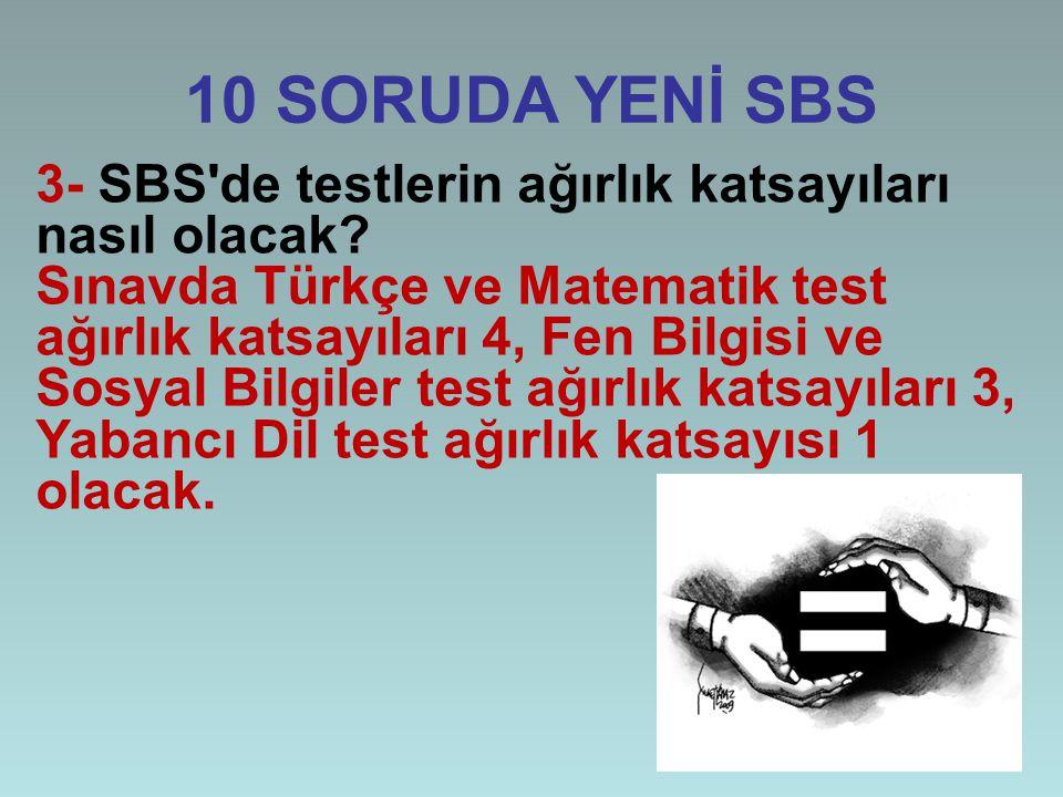 10 SORUDA YENİ SBS 3- SBS de testlerin ağırlık katsayıları nasıl olacak