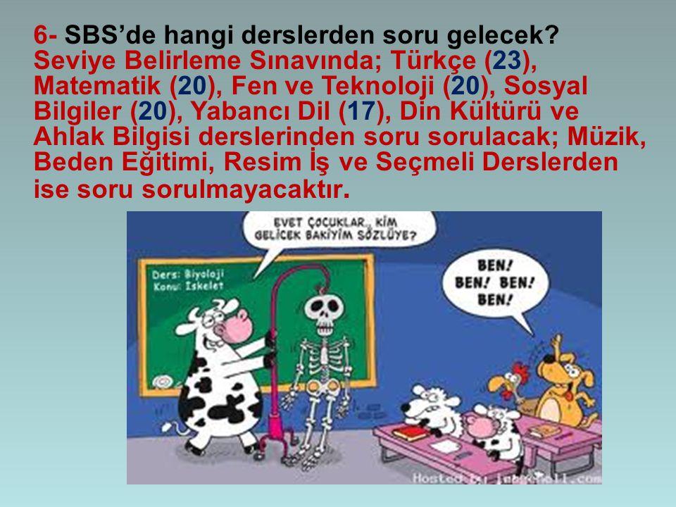 6- SBS'de hangi derslerden soru gelecek