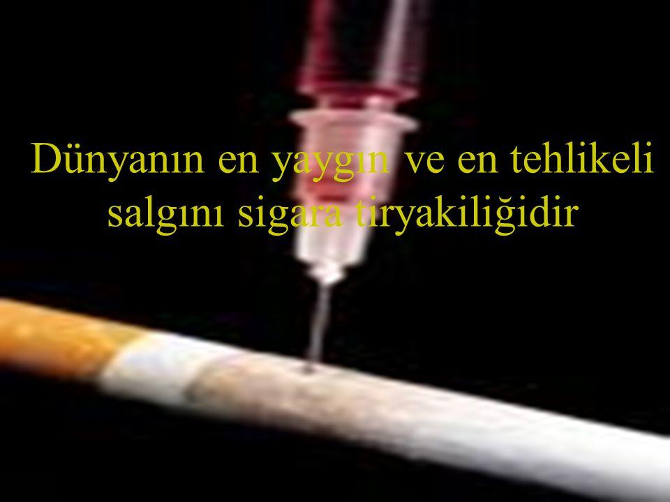 Dünyanın en yaygın ve en tehlikeli salgını sigara tiryakiliğidir
