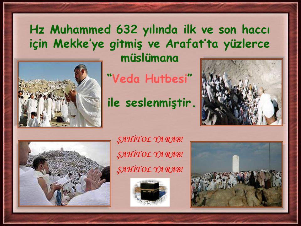 Hz Muhammed 632 yılında ilk ve son haccı için Mekke'ye gitmiş ve Arafat'ta yüzlerce müslümana