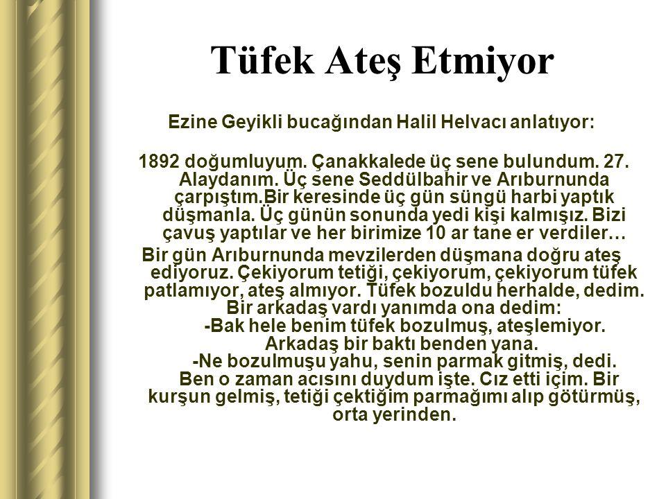 Ezine Geyikli bucağından Halil Helvacı anlatıyor: