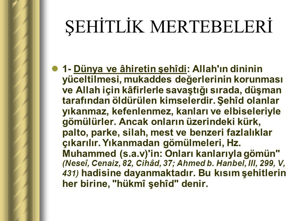 ŞEHİTLİK MERTEBELERİ