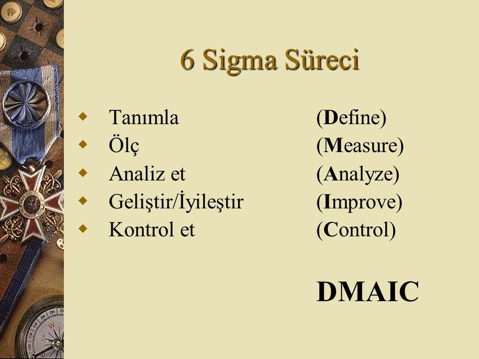 6 Sigma Süreci DMAIC Tanımla (Define) Ölç (Measure)
