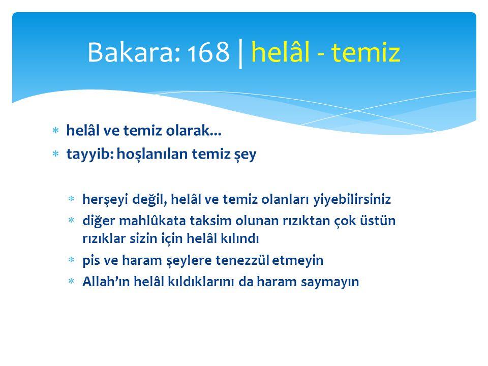 Bakara: 168 | helâl - temiz helâl ve temiz olarak...