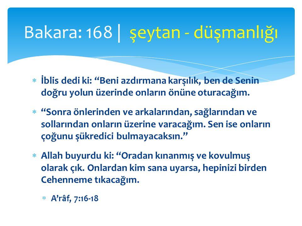 Bakara: 168 | şeytan - düşmanlığı