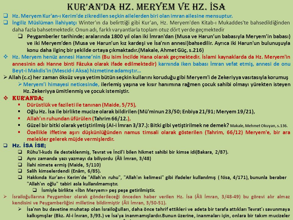 KUR'AN'DA HZ. MERYEM VE HZ. İSA