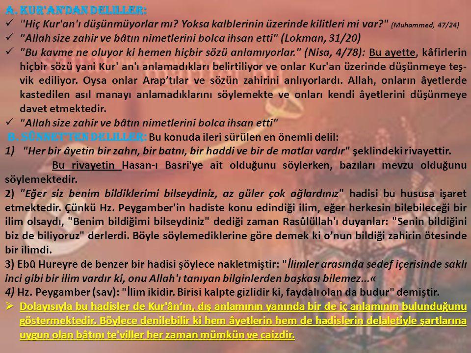 a. Kur an dan Deliller: Hiç Kur an ı düşünmüyorlar mı Yoksa kalblerinin üzerinde kilitleri mi var (Muhammed, 47/24)