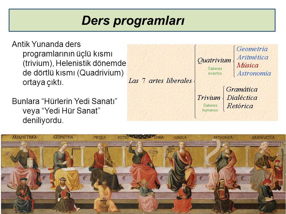 Ders programları Antik Yunanda ders programlarının üçlü kısmı (trivium), Helenistik dönemde de dörtlü kısmı (Quadrivium) ortaya çıktı.
