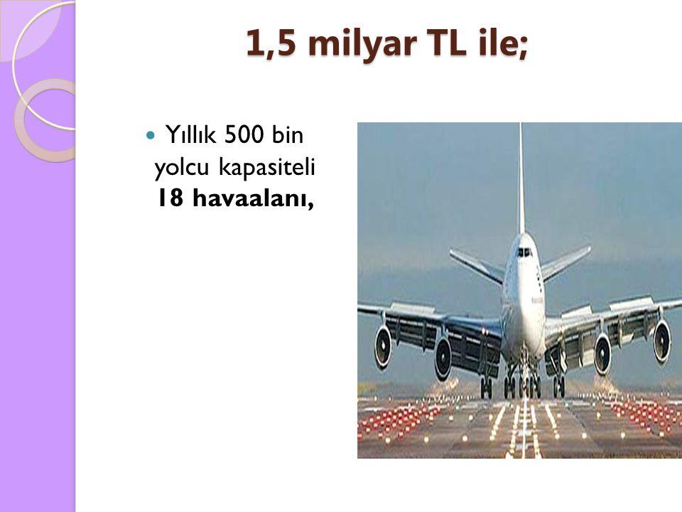 Yıllık 500 bin yolcu kapasiteli 18 havaalanı,