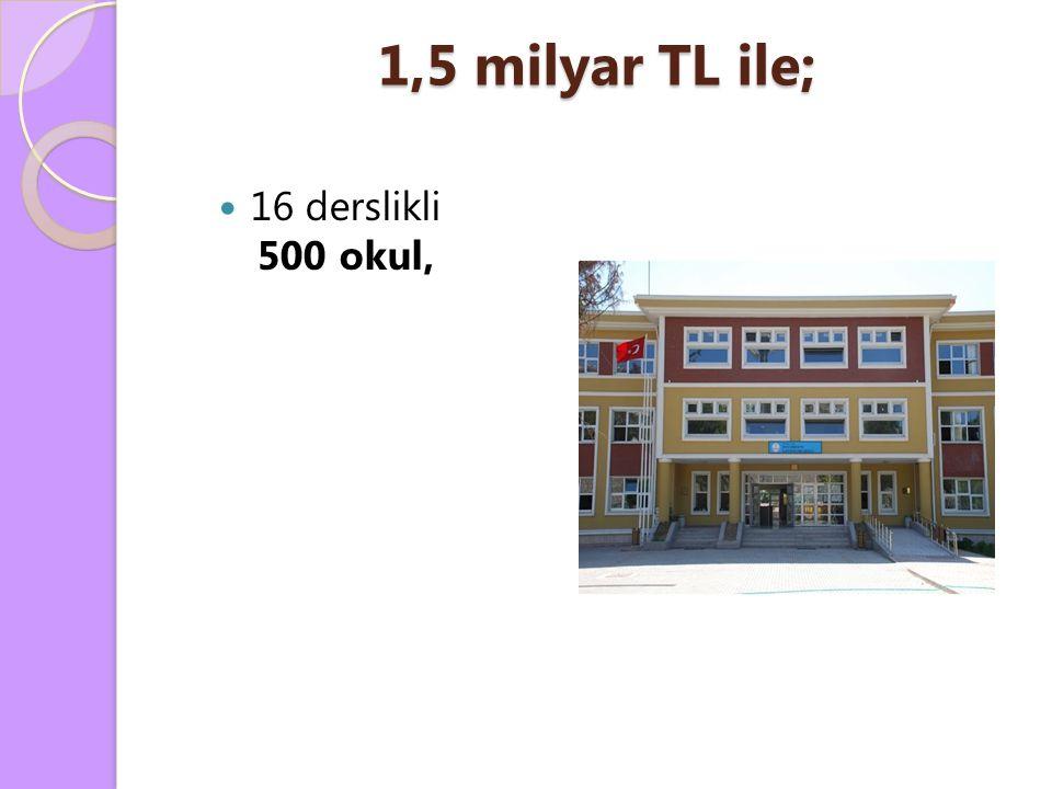 1,5 milyar TL ile; 16 derslikli 500 okul,