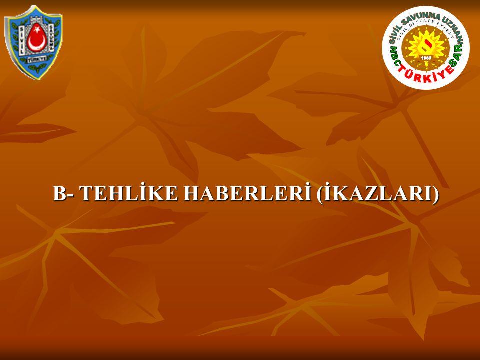 B- TEHLİKE HABERLERİ (İKAZLARI)