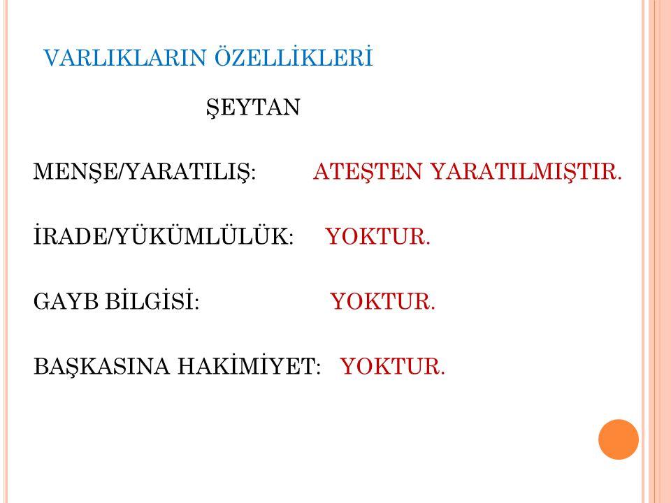 VARLIKLARIN ÖZELLİKLERİ
