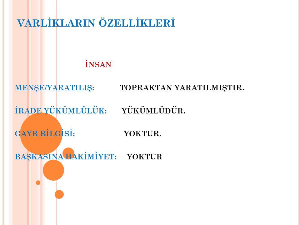 VARLİKLARIN ÖZELLİKLERİ