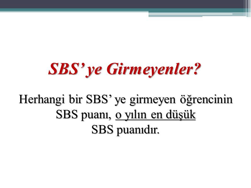 Herhangi bir SBS' ye girmeyen öğrencinin SBS puanı, o yılın en düşük