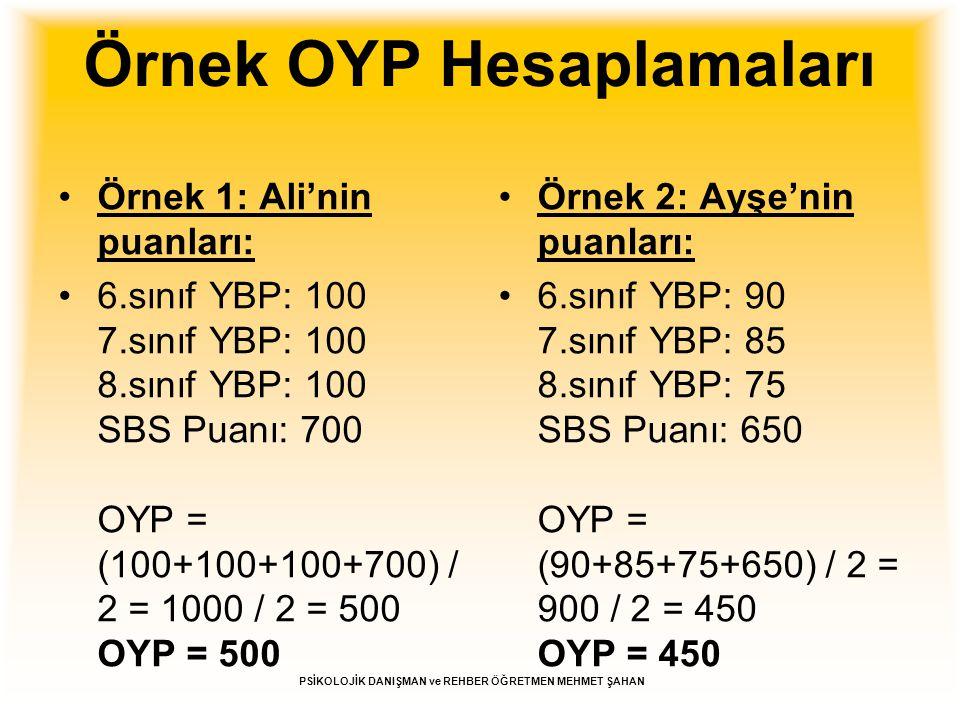 Örnek OYP Hesaplamaları