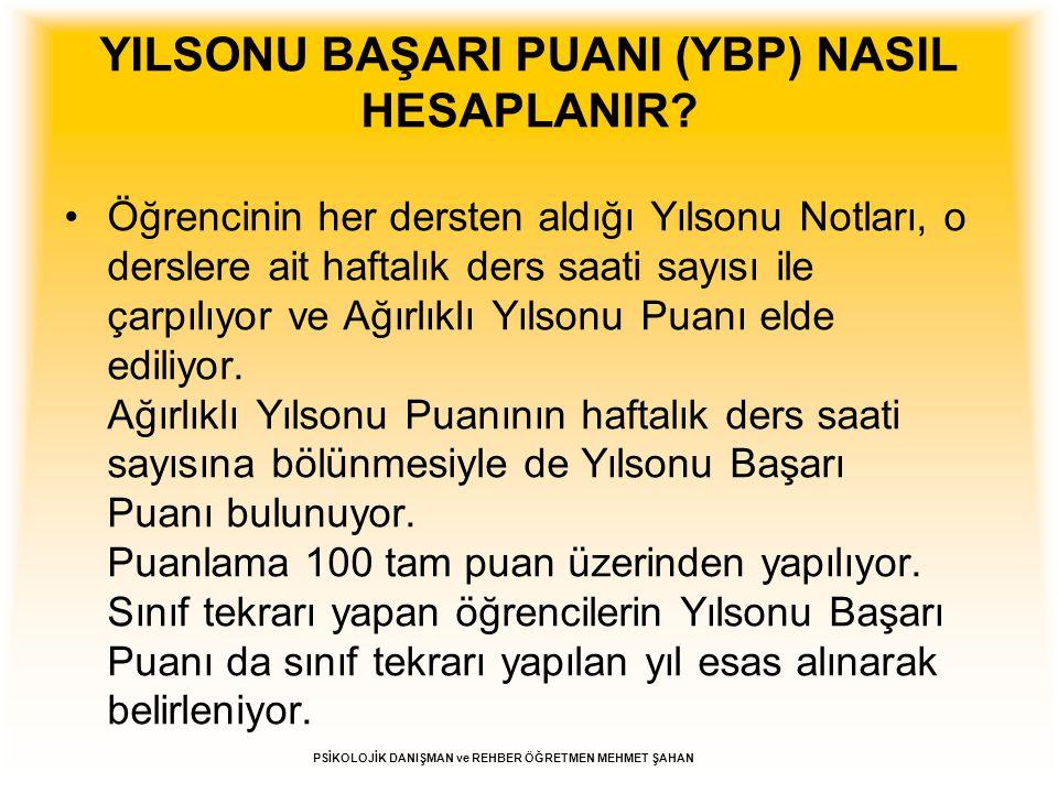 YILSONU BAŞARI PUANI (YBP) NASIL HESAPLANIR