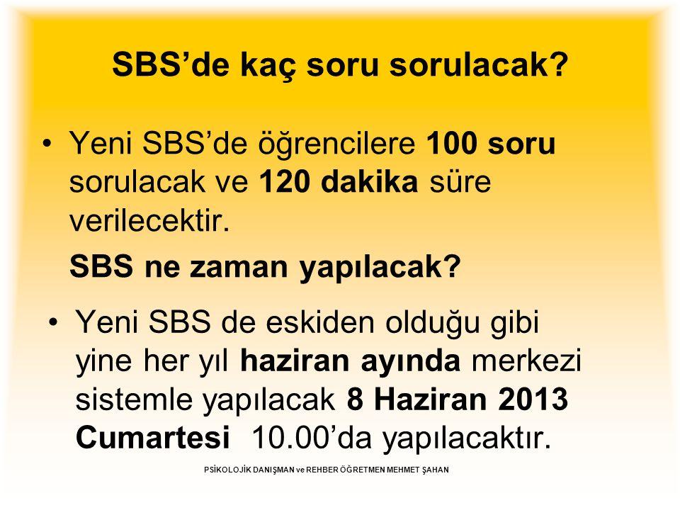 SBS'de kaç soru sorulacak