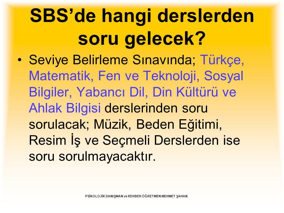 SBS'de hangi derslerden soru gelecek