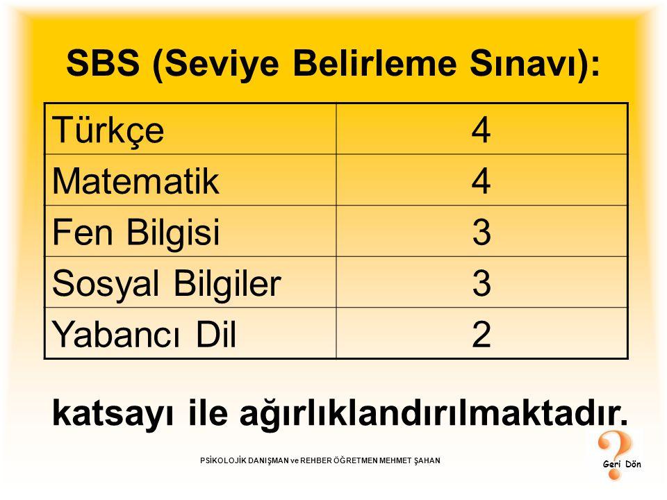 SBS (Seviye Belirleme Sınavı):