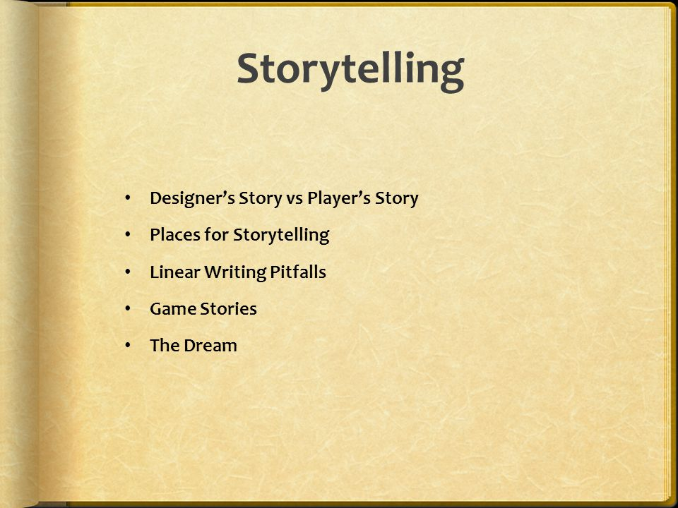 Storytelling Designer's Story vs Player's Story