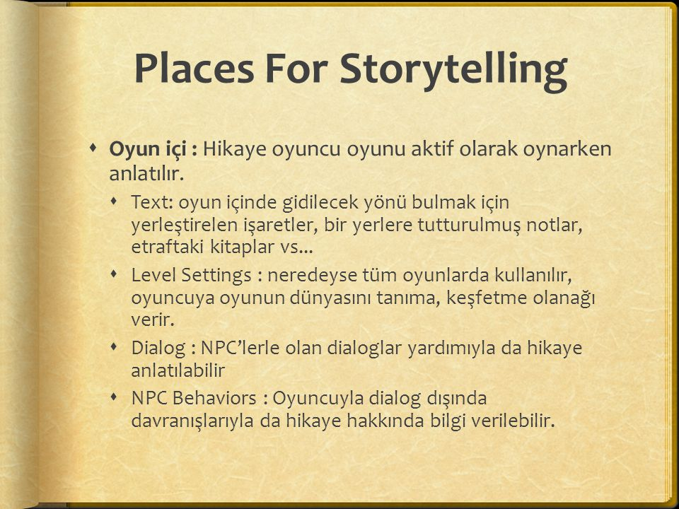 Places For Storytelling