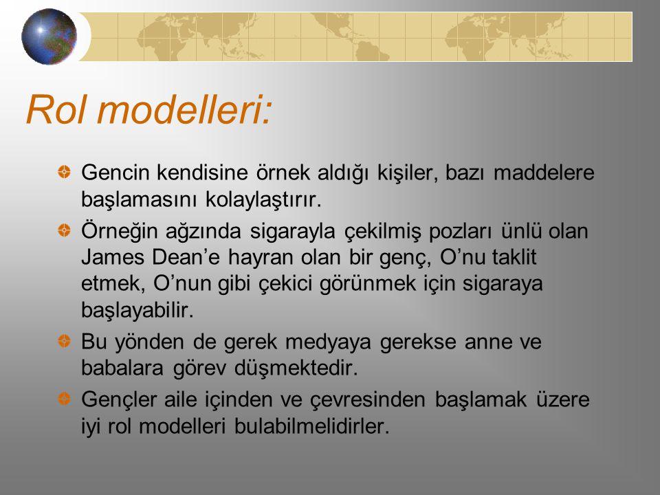 Rol modelleri: Gencin kendisine örnek aldığı kişiler, bazı maddelere başlamasını kolaylaştırır.