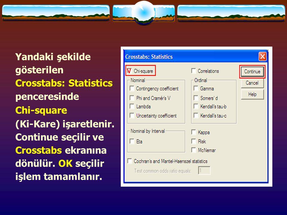 Yandaki şekilde gösterilen Crosstabs: Statistics penceresinde
