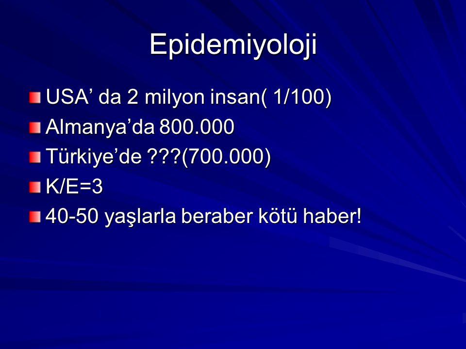 Epidemiyoloji USA' da 2 milyon insan( 1/100) Almanya'da 800.000