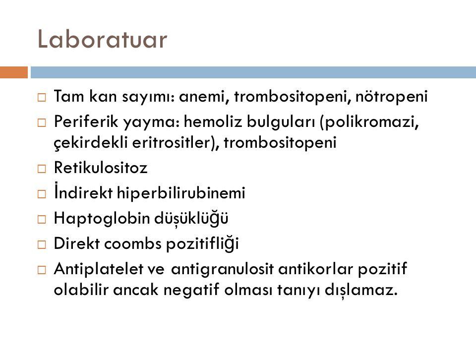 Laboratuar Tam kan sayımı: anemi, trombositopeni, nötropeni