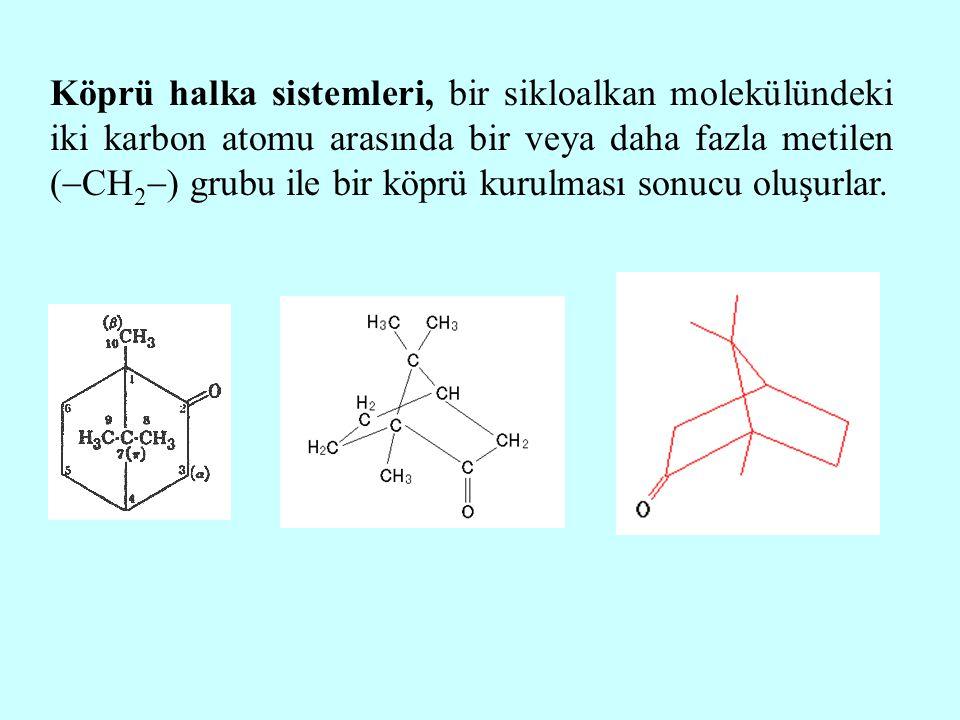Köprü halka sistemleri, bir sikloalkan molekülündeki iki karbon atomu arasında bir veya daha fazla metilen (CH2) grubu ile bir köprü kurulması sonucu oluşurlar.