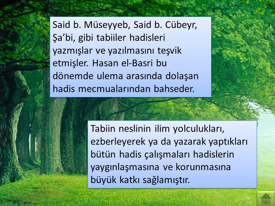 Said b. Müseyyeb, Said b. Cübeyr, Şa'bi, gibi tabiiler hadisleri yazmışlar ve yazılmasını teşvik etmişler. Hasan el-Basri bu dönemde ulema arasında dolaşan hadis mecmualarından bahseder.