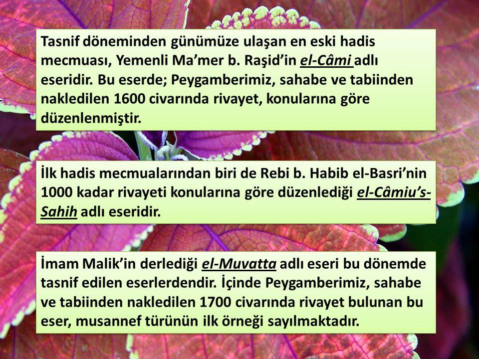 Tasnif döneminden günümüze ulaşan en eski hadis mecmuası, Yemenli Ma'mer b. Raşid'in el-Câmi adlı eseridir. Bu eserde; Peygamberimiz, sahabe ve tabiinden nakledilen 1600 civarında rivayet, konularına göre düzenlenmiştir.