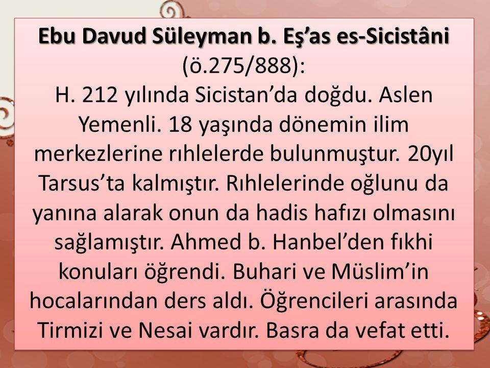 Ebu Davud Süleyman b. Eş'as es-Sicistâni