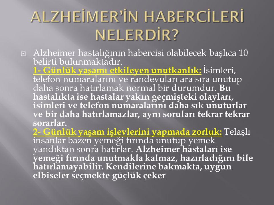 ALZHEİMER'İN HABERCİLERİ NELERDİR