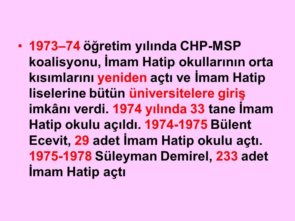 1973–74 öğretim yılında CHP-MSP koalisyonu, İmam Hatip okullarının orta kısımlarını yeniden açtı ve İmam Hatip liselerine bütün üniversitelere giriş imkânı verdi.