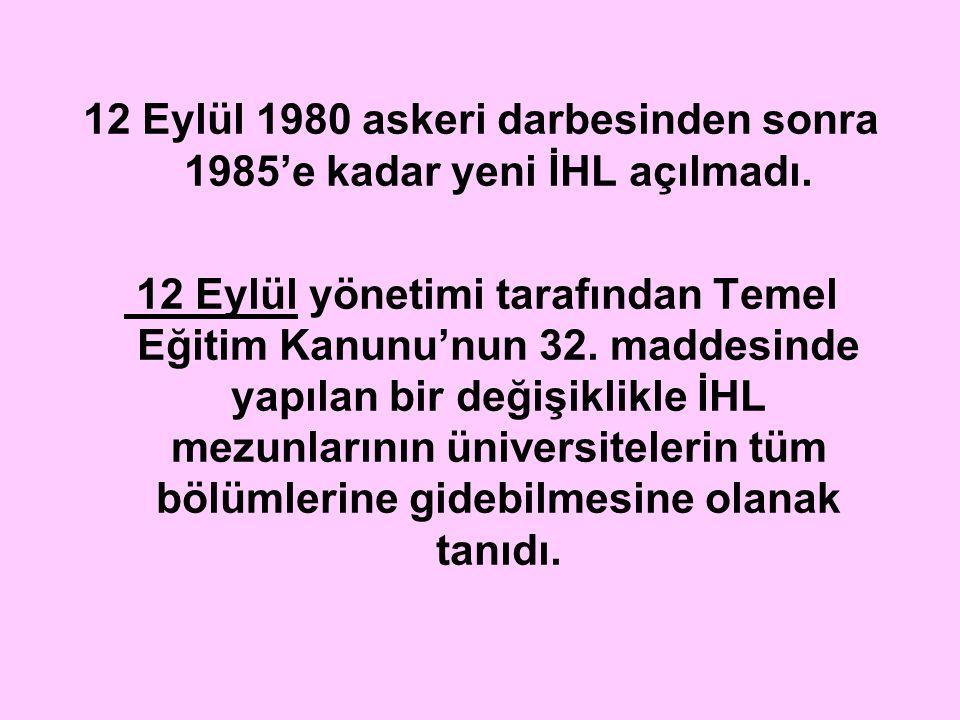 12 Eylül 1980 askeri darbesinden sonra 1985'e kadar yeni İHL açılmadı.
