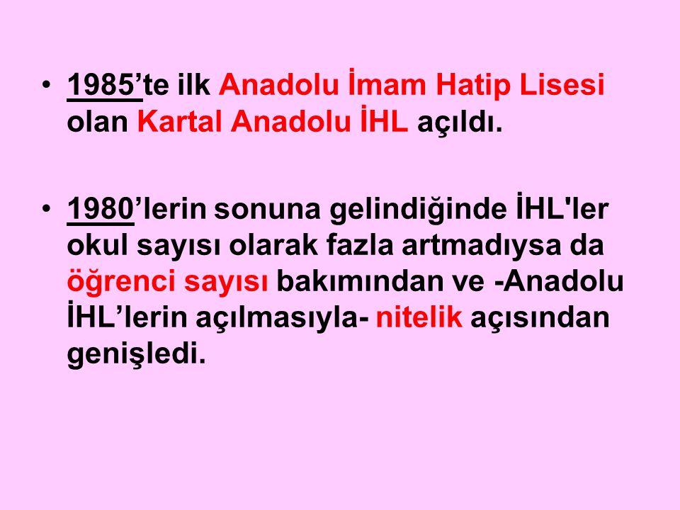1985'te ilk Anadolu İmam Hatip Lisesi olan Kartal Anadolu İHL açıldı.
