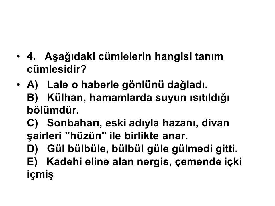 4. Aşağıdaki cümlelerin hangisi tanım cümlesidir