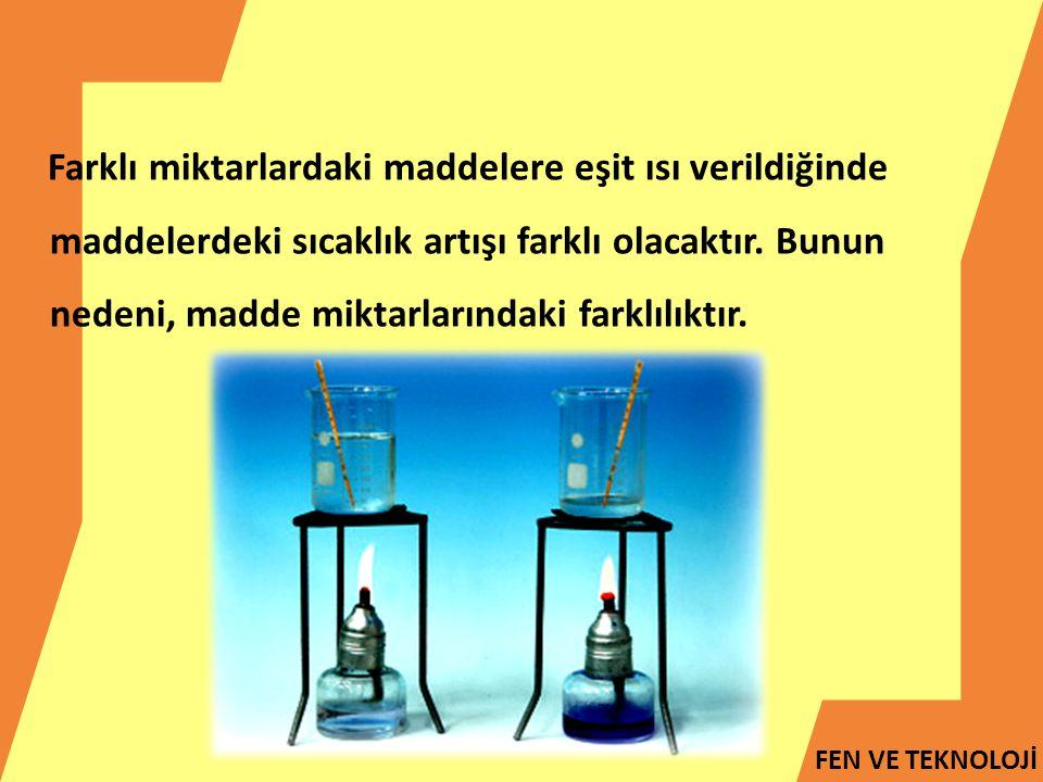 Farklı miktarlardaki maddelere eşit ısı verildiğinde maddelerdeki sıcaklık artışı farklı olacaktır.