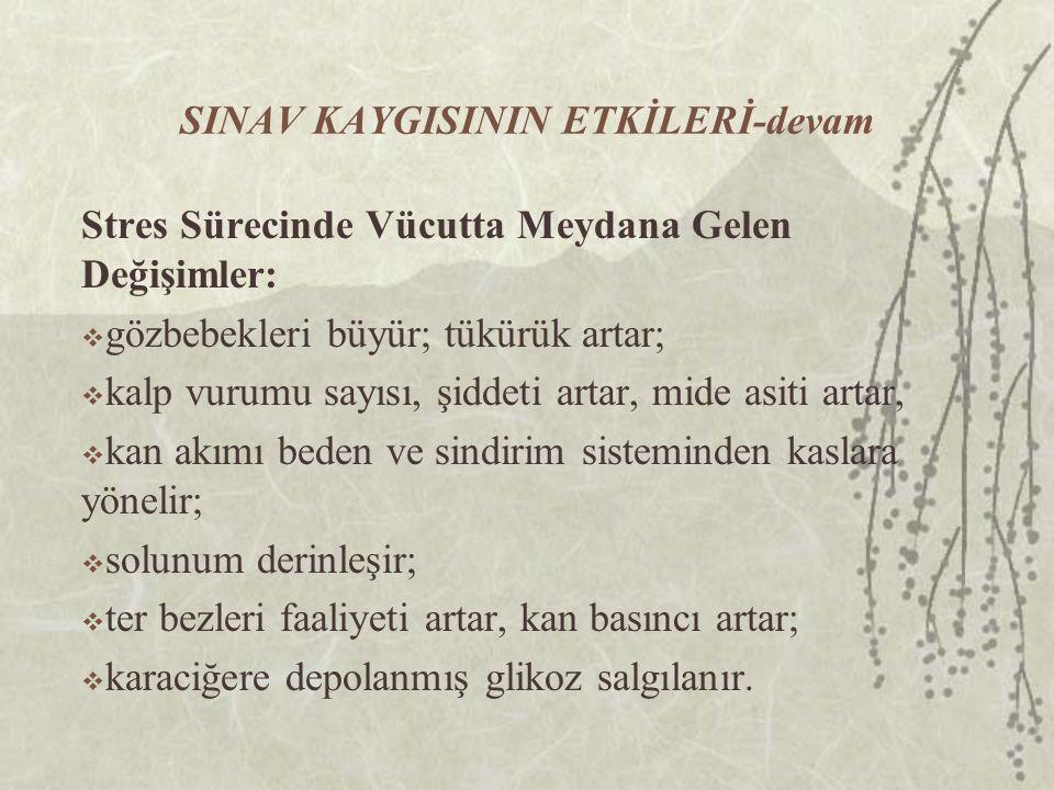 SINAV KAYGISININ ETKİLERİ-devam