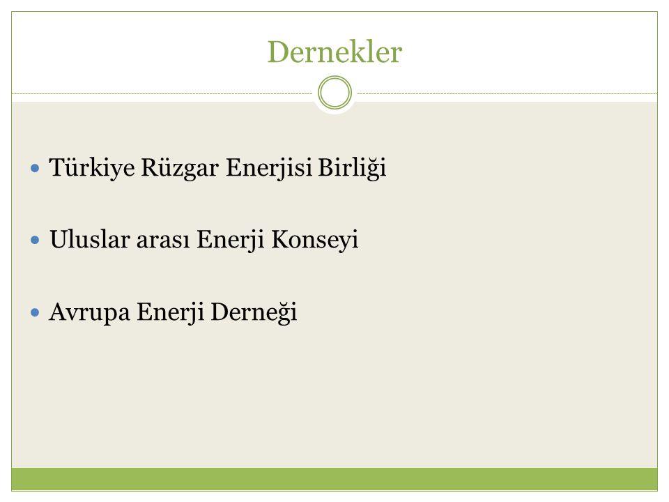 Dernekler Türkiye Rüzgar Enerjisi Birliği Uluslar arası Enerji Konseyi