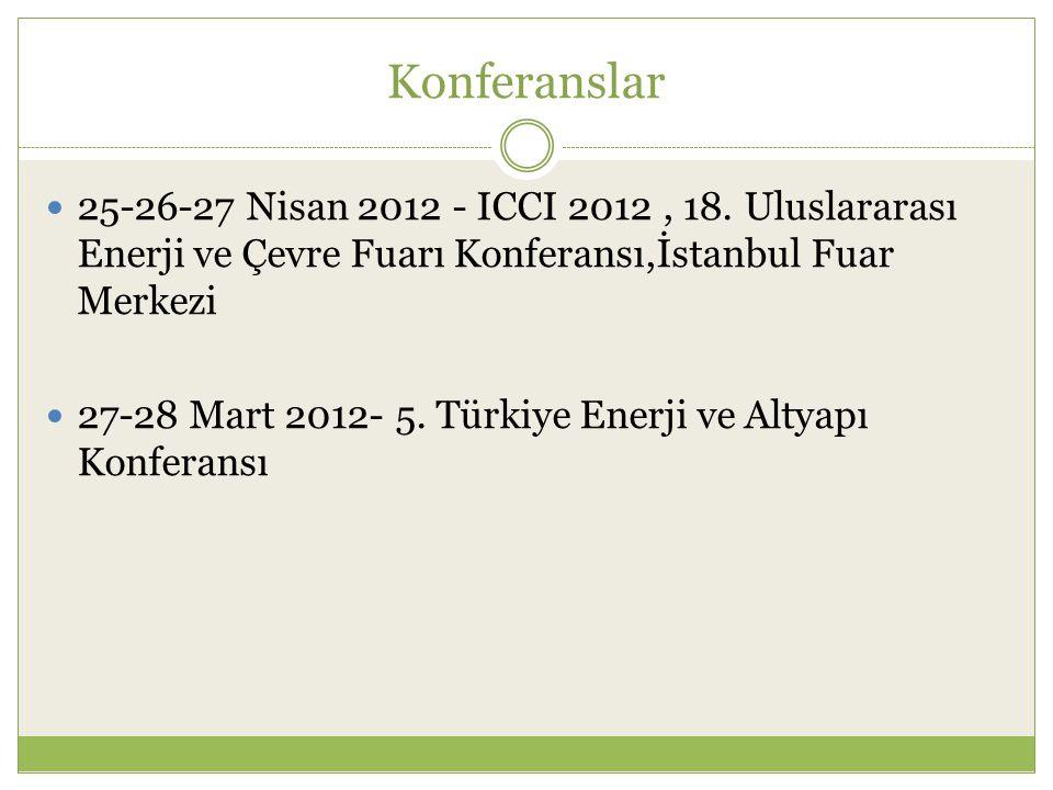 Konferanslar 25-26-27 Nisan 2012 - ICCI 2012 , 18. Uluslararası Enerji ve Çevre Fuarı Konferansı,İstanbul Fuar Merkezi.