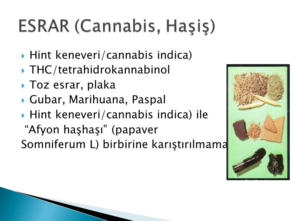 ESRAR (Cannabis, Haşiş)