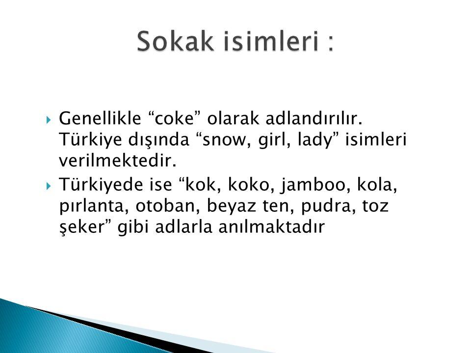 Sokak isimleri : Genellikle coke olarak adlandırılır. Türkiye dışında snow, girl, lady isimleri verilmektedir.