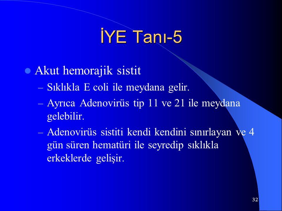 İYE Tanı-5 Akut hemorajik sistit Sıklıkla E coli ile meydana gelir.