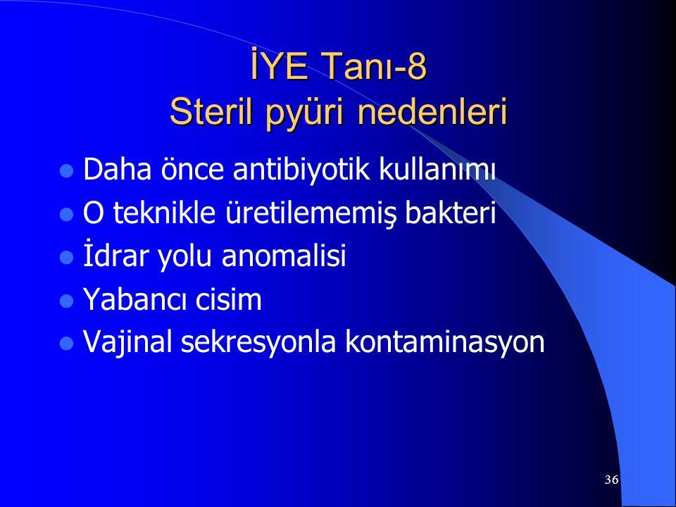 İYE Tanı-8 Steril pyüri nedenleri
