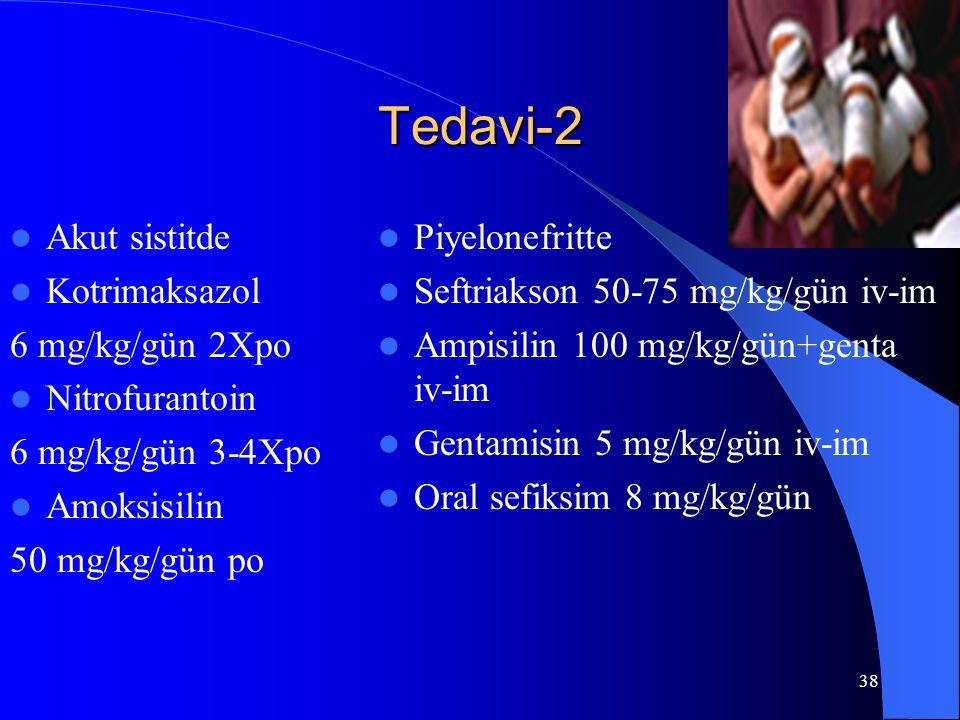 Tedavi-2 Akut sistitde Kotrimaksazol 6 mg/kg/gün 2Xpo Nitrofurantoin